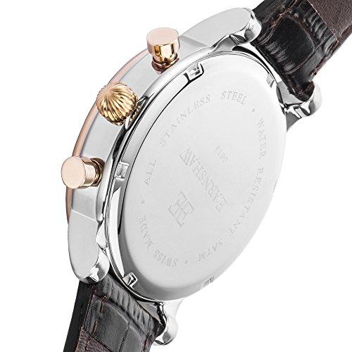 Thomas Earnshaw Longcase 43 ES-0016-0C Montre à quartz pour homme Avec  cadran noir à affichage chronographe et bracelet en cuir marron … 178f4038b0b4
