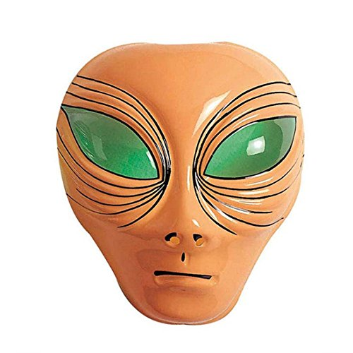 NET TOYS Alien Maske Außerirdischer Kopf hautfarben UFO Faschingsmaske Space Karnevalsmaske Halloween Alienmaske Intergalaktische Mottoparty Kostüm ()