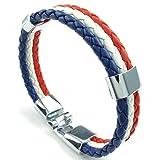 AMDXD Gioielli Acciaio Inossidabile Cuff Bracciali per Uomo 3 Cerchi Di Tessitura Bianca Rosso Blu 8.5IN