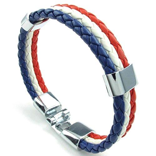 AMDXD Schmuck Herren Armband Leder 3 Weben Runde Kreis Weiß Rot Blau Armkette (Männer Gold Iced Out Uhr)