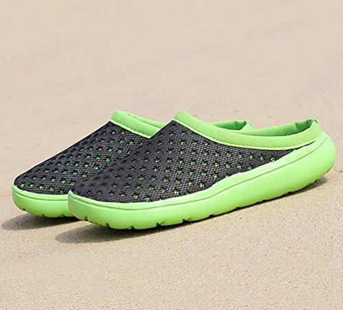 YOUJIA Mens Sommer Atmungsaktiv Mesh Hausschuhe Strand Sandalen Lässige Schuhe Pantoffeln Clogs Schwarz Grün