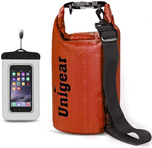 Unigear Borse Impermeabile, Sacche Impermeabili Dry Bag per Trekking, Kayak, Pesca, Rafting, Campeggio, Sci con Omaggio Gratuito di Una Custodia Telefono Impermeabile (2L, Arancione)