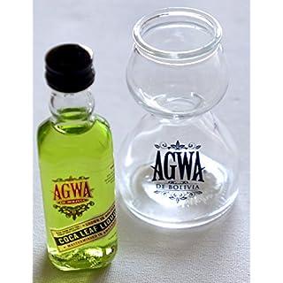 AGWA COCA LEAF BRANDED GLASS QUAFFER DOUBLE BUBBLE CHASER SHOT GLASS WITH AGWA DE BOLIVIA 5cl(50ml) AGWA COCA LEAF LIQUOR