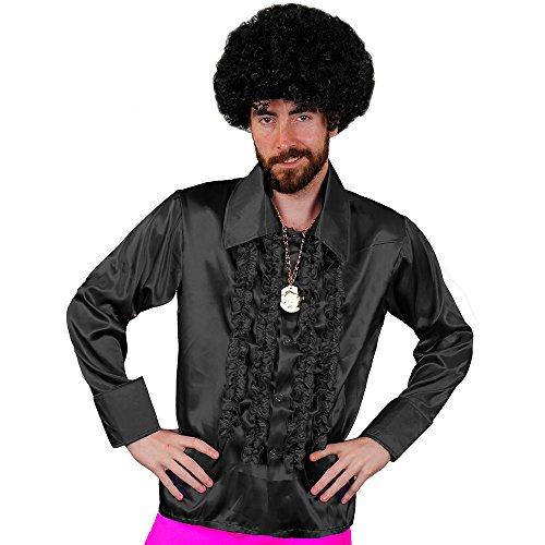 I love Fancy Dress ilfd4600X XL Schwarz Herren Deluxe Disco Rüschen Shirt 1970's King Fancy Kleid (2x große) (Groovy Disco Hemd Für Erwachsene Kostüme)