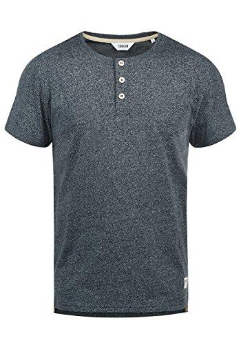 !Solid Espon Herren T-Shirt Kurzarm Shirt Mit Grandad-Ausschnitt, Größe:XL, Farbe:Insignia Blue Melange (8991)