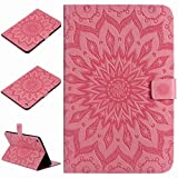 Yiizy Samsung Galaxy Tap E 9.6 / T560 Case, Girasole Style Leather Slim Standing Protective Cover ID & Credit Card Slots Pockets Magnetic Strap Wallet Pouch Flip Cover Case (Rosa chiaro)