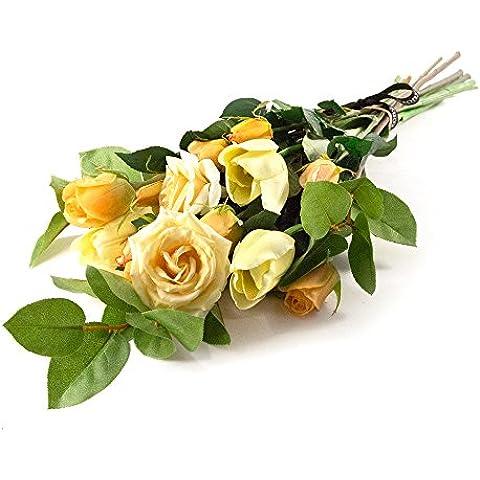 Peony 7148 - Rosa amarilla, y el ramo del tulipán de la cubierta artificial, envueltos en celofán, con