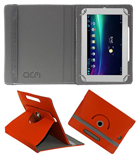 Acm Rotating 360° Leather Flip Case for Ambrane A-707 Cover Stand Orange  available at amazon for Rs.149