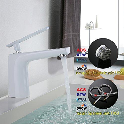Homelody – Moderne Waschbeckenarmatur, Einhebelarmatur, Keramikkartusche, Perlator, Weiß-Chrom - 8