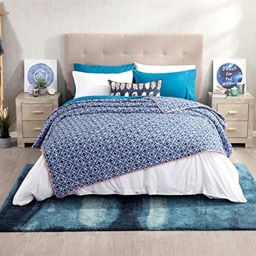 Bedsure copriletto blu geometria stampata 220 x 240 cm - trapunta copri letto per primaverile e estivo moderno e morbido
