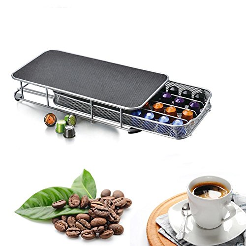 Kaffee Kapsel Halter, 40Pod Nespresso Kaffee Kapsel Aufbewahrung mit Edelstahl stapelbar stehen für Coffee Shop Display-Anti-Vibrations-rutschfeste Oberfläche