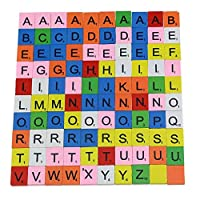 Circe-eu 100 Pieces Wooden Alphabet Scrabble Tiles Black Letters & Numbers for Crafts Board Games Jewellery Making Kit (colorful)