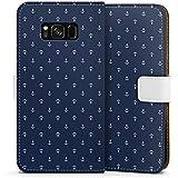 Samsung Galaxy S8 Tasche Hülle Flip Case Anker Blau Maritim