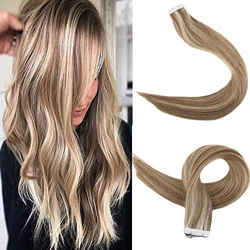 Easyouth Kleber Haarverlängerung 16 zoll 50g 20Stück pro Paket Farbe #10P16 10 Highlight mit 16 Haar Verlängerung Tape on