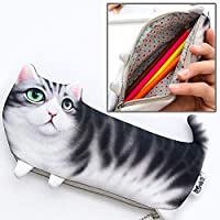 HUANGMENG Bag Cat Style Version of The Simulation Three-Legged Cat Portable Stationery Cosmetic Bag, Size: 22x10.5cm (Color : Color3)