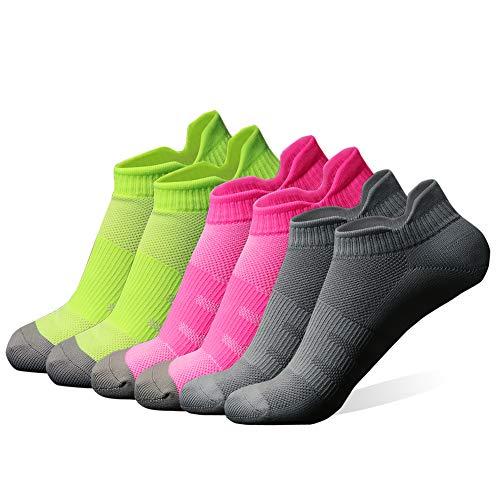 diwollsam Athletic Running Socken für Frauen, Feuchtigkeitstransport Dry Fit Low Cut Tab Sport Socken, Damen, 6 Pairs-Gray/Fluorescent Green/Rose Red, Einheitsgröße -