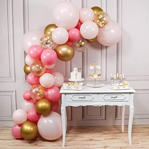 Rosa Gold, 44 Stück Satz von Luftballons Rosa, Luftballons Gold, Magenta Luftballons und Gold Konfetti Luftballons, Ballons Rosa Gold, 4 Stück Rosa Große Luftballons Inklusive ()