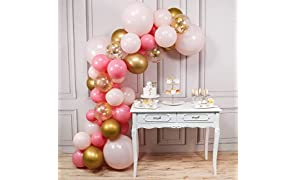 PartyWoo Gold and Pink Balloons, 44 pcs Light Pink Balloons, Gold Metallic Balloons, Fushia Balloons and Gold Confetti Balloons for Pink and Gold Baby Shower, 4 pcs 18 In Jumbo Pink Balloons Included