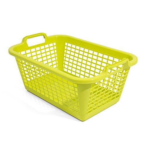 60L Wäschekorb Wäschebox von OKT grün Kunststoff Tragegriffe Sammelkorb Wäschesammler