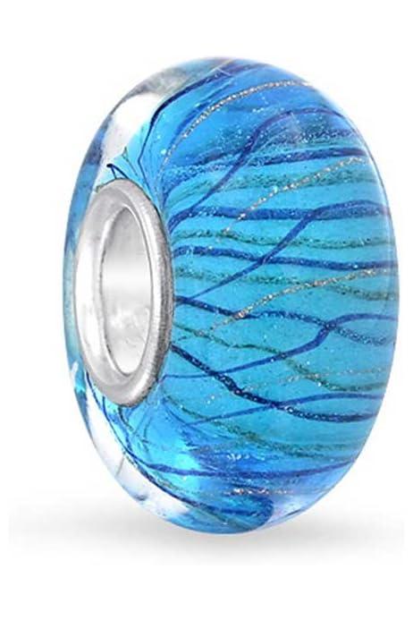 Bling Jewelry Bleu Marine M/étallis/é Vert Perle Murano Verre Charms Et Perles D/Écartement Femme Ados Bracelet Europ/éen Argent Sterling