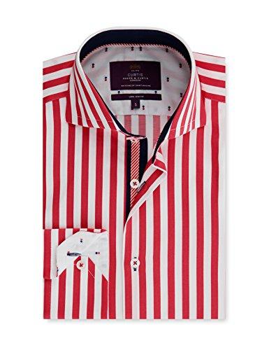 Hawes & curtis camicia casual - a righe - classico - maniche lunghe - uomo rosso/bianco s