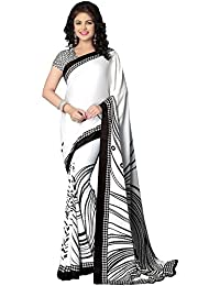 Kanchnar Women's Crepe Printed Saree With Blouse Piece - 117S504A_White_Free Size