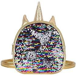 iiniim Mini Mochila Unicornio de Piel Sintética Lentejuelas Brillante Guarderia Infantil Mochila Escolar Juvenil Viaje Bolso con Orejas Cuerno School Bag para Niña Adolescente Chica Dorado One Size