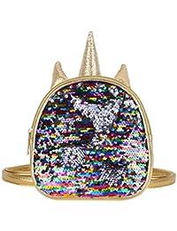Agoky Mochila Unicornio Infantil de Lentejuelas Brillante Mochila de Cuero Niña Mini Bolsa Mochila de Escolar