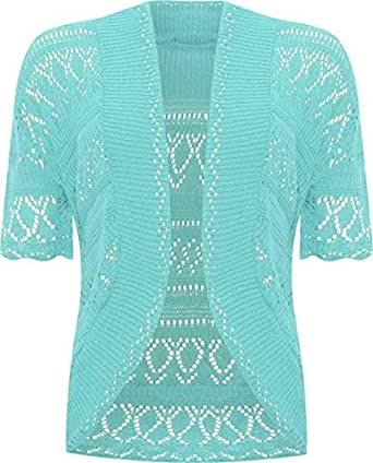 ZEE Fashion New Ladies Bolero Shrug Crochet Knitted Cardigan Women's Top Short Sleeve Cardigan Aqua