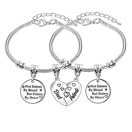 2 braccialetti con charm per migliore amica, braccialetto regolabile per donne e ragazze, idea regalo per amiciz