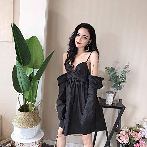 YIFUDAJIA Kleid weibliche koreanische Mode Temperament V-Ausschnitt trägerlosen Neckholder Topriemen Kleiner schwarzer Rock, S, schwarz -