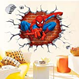 Kibi Stickers Muraux Spiderman 3D Effect Autocollants Chambre Decor Décoration Sticker Adhesif Mural Géant Répositionnable Stickers Muraux Enfants Spiderman