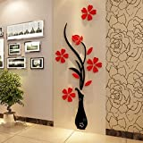 Generic Best Fashion DIY Home Room Decor 3D Vase Flower Tree Wall Sticker Removable Decal 30x80cm