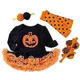 Riou Kinder Langarm Halloween Kostüm Top Set Baby Kleidung Set Kleinkind Kinder Baby Mädchen Kürbis Striped Print Langarm Halloween Kleid + Stirnbänder gesetzt Skelett (110, Mehrfarbig)