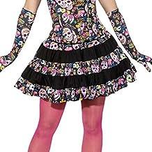 Amakando Falda Día de los Muertos Falda Calaveras Sexy S 34/36 Minifalda Calavera Vestido