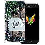 dessana Frühling transparente Silikon TPU Schutzhülle 0,7mm dünne Handy Soft Case für Samsung Galaxy A5 (2017) Schmetterling Garten