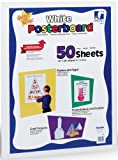 Super Value White Poster Board - 50 Sheets of White Card 270gsm (558mm x 711mm Slightly smaller than A1 size) in Re-closable Storage Carton - Ideal for all types of Classroom Projects - including Reward Charts, Birthday Boards, Mounting Work, Models etc