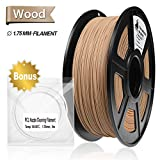 Real Wood PLA 3D Printer Filament,Wood Filament 1.75 mm,1KG(2.2LBS) Spool, Dimensional Accuracy +/- 0.02 mm,Wood Filament,Bonus with 5M PCL Nozzle Cleaning Filament