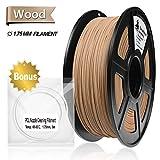 Real Wood PLA 3D Printer Filament,Wood Filament 1.75 mm,1KG(2.2LBS) Spool, Dimensional Accuracy +/- 0.02 mm,Wood Filament,No Clogging