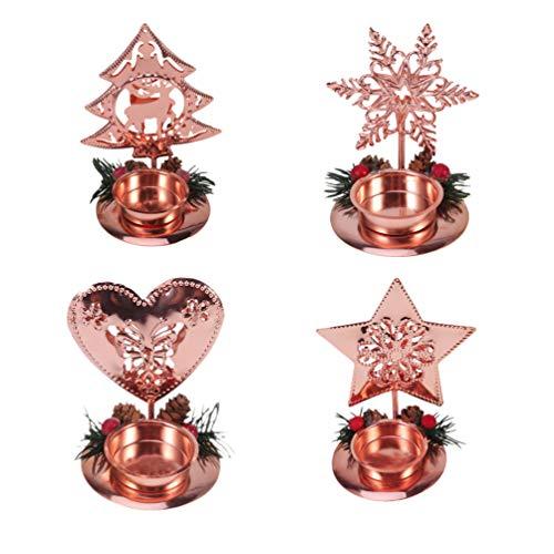 Amosfun 4 Piezas Soporte de Velas de Mesa de Navidad Adornos navideños Soporte de luz de té de Metal decoración de hogar de Boda de Navidad