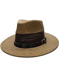 GBY Cappello Estivo da Uomo in Paglia a Tesa Larga Cappello Panama in  Fedora da Sole Scava Fuori la Pelle di Serpente a Rete (Colore   caffè c8ee204292ac