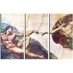 Michelangelo Buonarroti - La Creación De Adán, 1508-1512, 3 Partes Cuadro, Lienzo Montado Sobre Bastidor (180 x 120cm)
