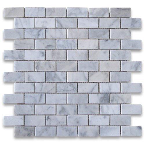 Carrara White Italian Carrera Marble Subway Brick Mosaic Tile 1 x 2 Polished by Stone Center Online