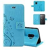 betterfon | Flower Case Handytasche Schutzhülle Blumen Klapptasche Handyhülle Handy Schale für Samsung Galaxy S9 Blau