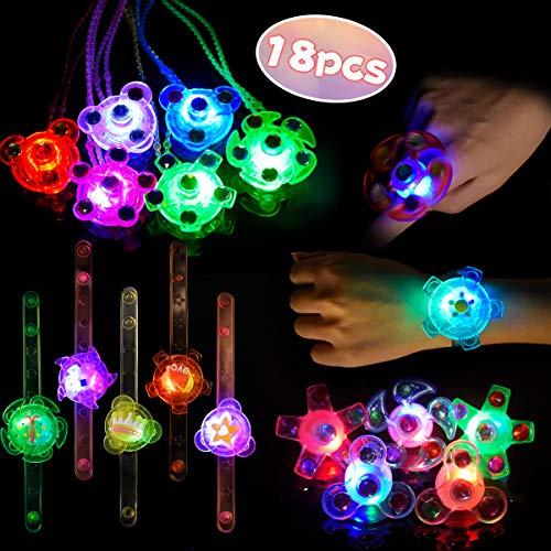 Imagen de led favores de fiesta para niños pulseras luminosas anillos luminosos collares para niños juguete luminoso premio para estudiantes, artículo de cumpleaños, suministro de halloween navidad, 18 piezas