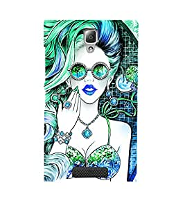 ANIMATED GIRL IN DUAL COLOUR GET UP 3D Hard Polycarbonate Designer Back Case Cover for Lenovo A2010