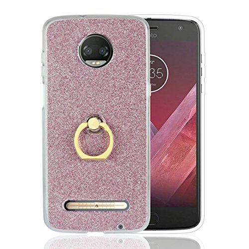 CUagain Kompatibel für Motorola Moto Z3 Play Hülle Silikon Glitzer Ultra Dünn mit Ring Moto Z3 Play Hüllen Klar Gummi Bumper Stoßfest Handyhülle Case Cover für Mädchen Damen,Rosegold
