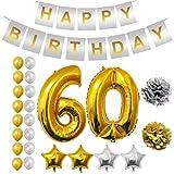 BELLE VOUS Alles Gute zum Geburtstag Folienballons Gold & Silber Party Dekoration Zubehör Set (Age 60)