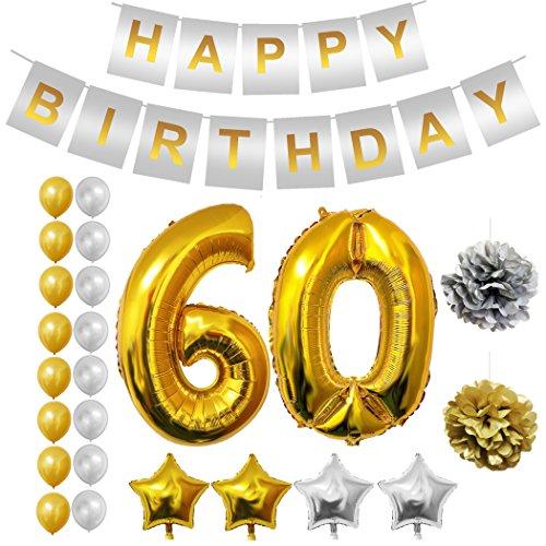 BELLE VOUS Globos Cumpleaños BUON Compleanno, Suministros e Decorazione di Globo Grande de Aluminio - Decorazione Globos De Látex Dorado e Plateado - Aptos para Todos de Peñaños (Age 60)