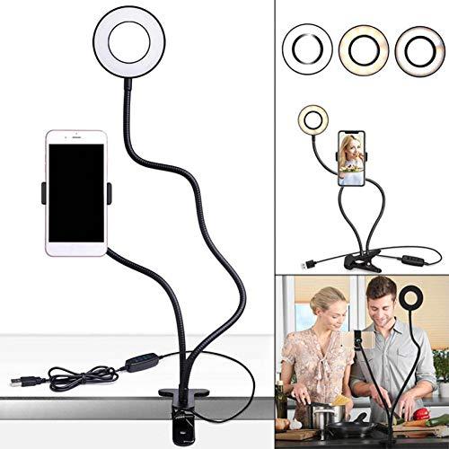 HKDOCL Selfie Ring Light Phone Holder Stand Für Live Stream Makeup Bracket Clamp Clip Auf Schreibtisch Led Lampe -